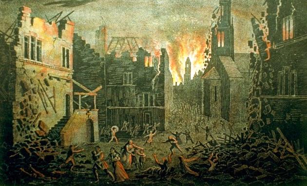 Incendie après le tremblement de terre de Bâle