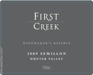 etiquette vin First creek hunter valley