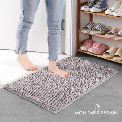 tapis de bain chenille gris