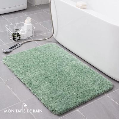 tapis de bain coton doux vert 2