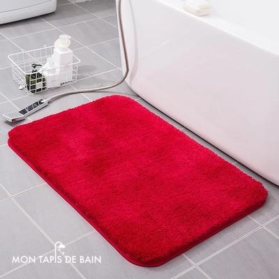 tapis de bain doux et absorbant rouge