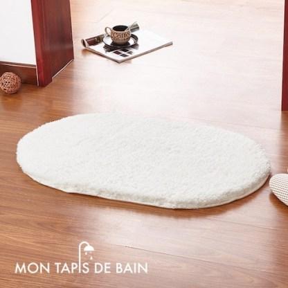tapis de bain memoire de forme blanc