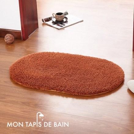 tapis de bain memoire de forme couleur café