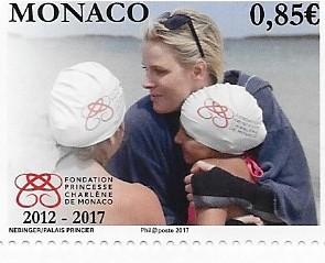 I francobolli emessi a Monte Carlo per celebrare i cinque anni della Fondazione Principessa Charlene di Monaco