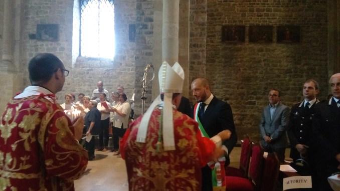 San Secondo: il Sindaco di Ventimiglia Enrico Ioculano ed il Vescovo Antonio Suetta durante la celebrazione religiosa della Festa del Santo Patrono.
