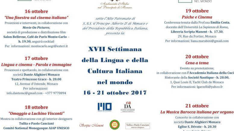 Il Programma della Settimana della Lingua e della Cultura Italiana a Monte Carlo