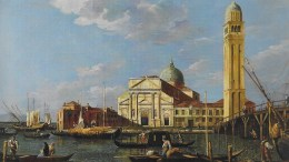 Montecarlo: La Magica Luce di Venezia, nell'immagine Veduta di San Pietro di Castello, di Giovanni Antonio Canal, detto Canaletto e studio. Collezione Privata, Regno Unito.