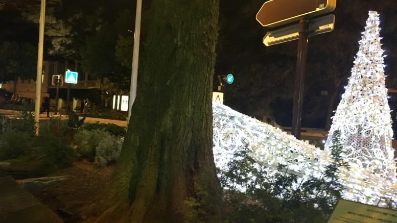 Alcune decorazioni natalizie cadute per il forte vento a Monaco in serata Ft.©MCD