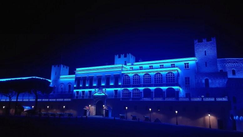 Giornata Mondiale Autismo, il Palazzo del Principe di Monaco si tinge di blu
