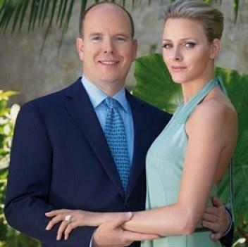 I Principi Alberto e Charlene, di cui oggi ricorre il 7° anniversario di nozze, il giorno del fidanzamento ufficiale,Ft. Amedeo M.Turello / Palais Princier - Monaco.