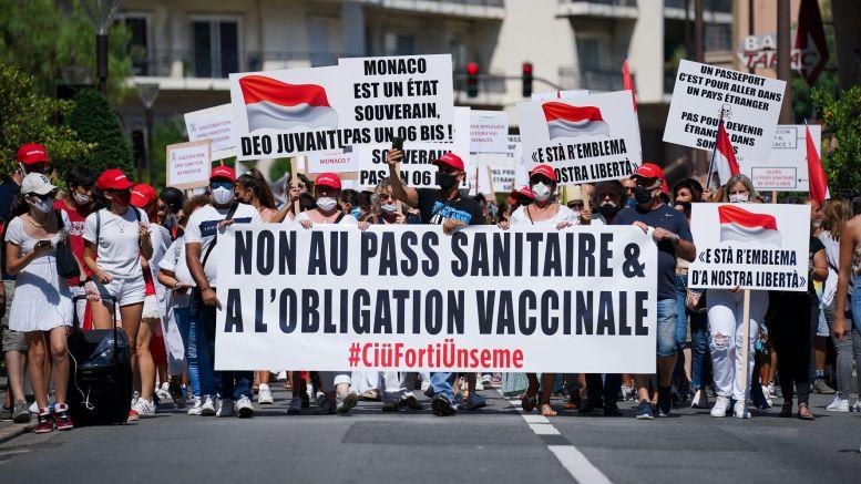 Manifestazione Contro il Pass Sanitario nel Principato
