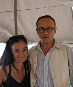 Mary McGuckian and Vincent Perez on the set of The Price of Desire in Eileen Gray Villa in Roquebrune, France