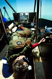 Andre Borschberg sleeping in the Solar Impulse simulator @Solar Impulse/Jean Revillard