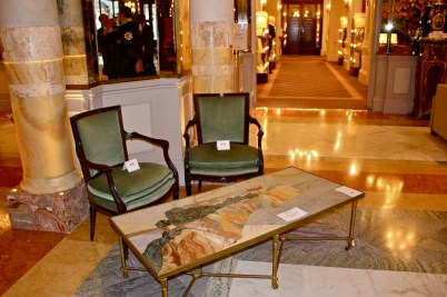 Marble marquetry table from the grand hall of the Hotel de Paris (#845) acquired by the Monegasque State @CelinaLafuenteDeLavotha
