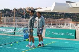 Novak and Stan are amused looking at the camera drone being attacked by the seagulls @CelinaLafuenteDeLavotha