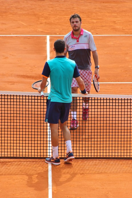 Stan Wawrinka saluting Dimitrov after their match Apr16, 2015 @CelinaLafuenteDeLavotha