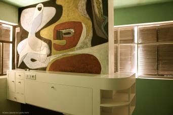 Bedroom furniture with mural by Le Corbusier @CelinaLafuenteDeLavotha 05/2015