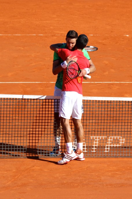 Djokovic embraces Vesely after the match