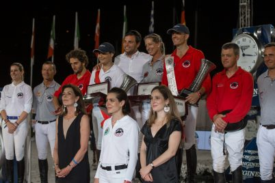 Longiness Pro Am Cup Monaco winners Inigo Lopez de la Osa father and son coached by Daniel Bluman and Schuyler Riley and 2nd and 3rd winners with HRH Princess Caroline and daughter Charlotte Casiraghi LGCTM @RB press