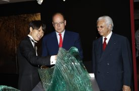 Prince Albert and Adriano Ribolzi with representative of Yufuku Gallery in Tokyo, Japan @EAFMonaco 2016