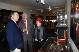 Prince Albert at the stand of Dewitt Haute Horlogerie, Geneve @EAF Monaco 2016