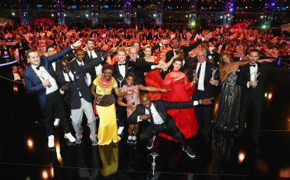 MONACO - FEBRUARY 14: Prince Albert II of Monaco and his wife Charlene,Princess of Monaco and Laureus World Sports Awards winners pose for a selfie on stage during the 2017 Laureus World Sports Awards at the Salle des Etoiles,Sporting Monte Carlo on February 14, 2017 in Monaco, Monaco. (Photo by Matthew Lewis/Getty Images for Laureus) *** Local Caption *** Prince Albert II of Monaco; Charlene; Princess of Monaco:Usian Bolt