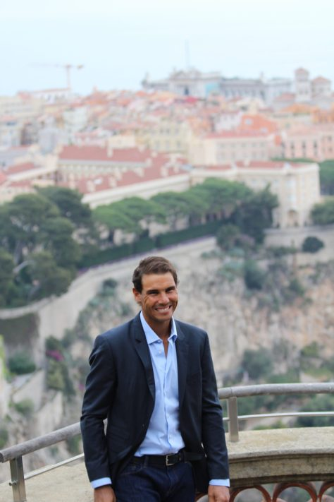 Rafael Nadal with The Rock in the background @CelinaLafuentedeLavotha