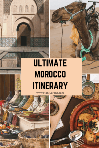 Click through to see the ultimate & best Morocco Itinerary. This 10 day Morocco travel guide will show you all the top places in Morocco, including Marrakech, Fes, Chefchaouen (The Blue City / Blue Pearl), Sahara Desert (Merzouga / Erg Chebbi), Essaouira, Casablanca, the Atlas Mountains & more! Learn all about Morocco's top places to see, the best things to do in Morocco, where to eat in Morocco + the most Instagramable places in Morocco.| #monacoronadotcom #Morocco #travel #itinerary #marrakech