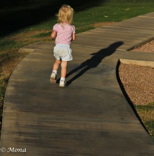 The 2-year-old asserts her independence.