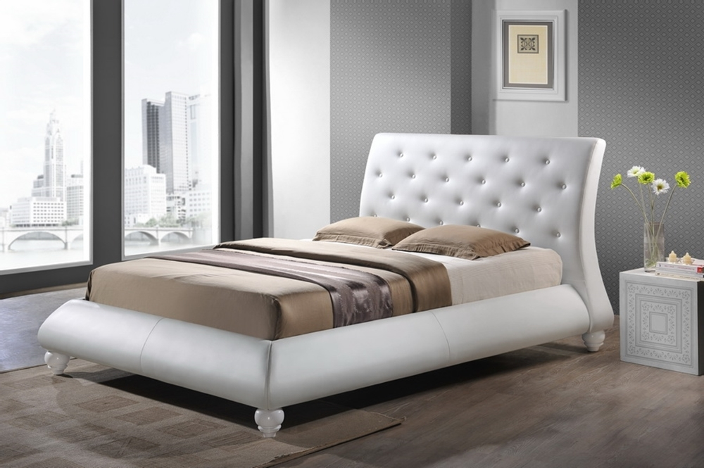 baxton studio metropolitan wood and leather contemporary king size bed