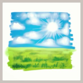"""April 10 (#99): Draw something that represents a Spring resolution of yours App: ArtStudio """"Get outside as much as possible"""" is #1 on my Spring resolution list...so I did a quick sketch so I could get outside...☀ #everydaydrawingchallenge #artstudio"""