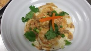 Gulf Shrimp - Chorizo Sauce and Cheese Grits
