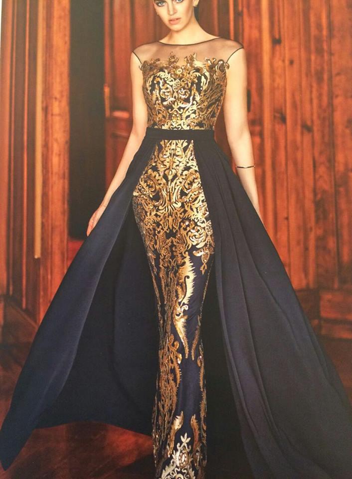 robe libanaise or avec cape bleue marine