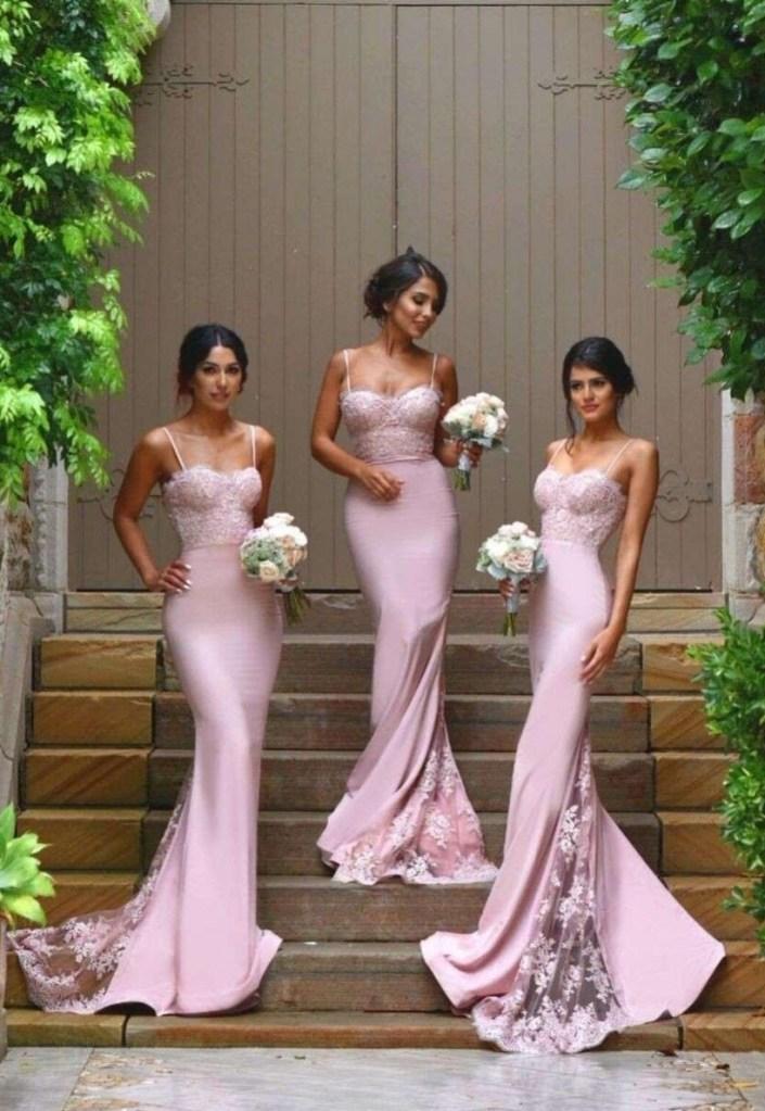 robe-demoiselle-d'honneur-longue-bustier-rose