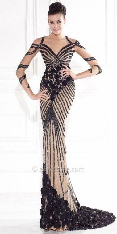 robe noir et beige Tarik Ediz