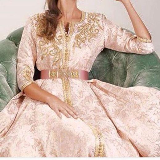 caftan rose et doré mariage oriental