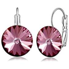 Boucles d'oreilles cristal ronde rose