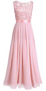 Robe longue fluide et évasée rose pastel