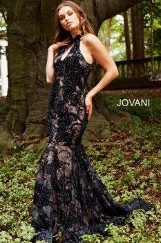 robe de soirée JOVANI NOIR BLEUTE profond foncé orientale libanaise dubai mariage 2018 2019
