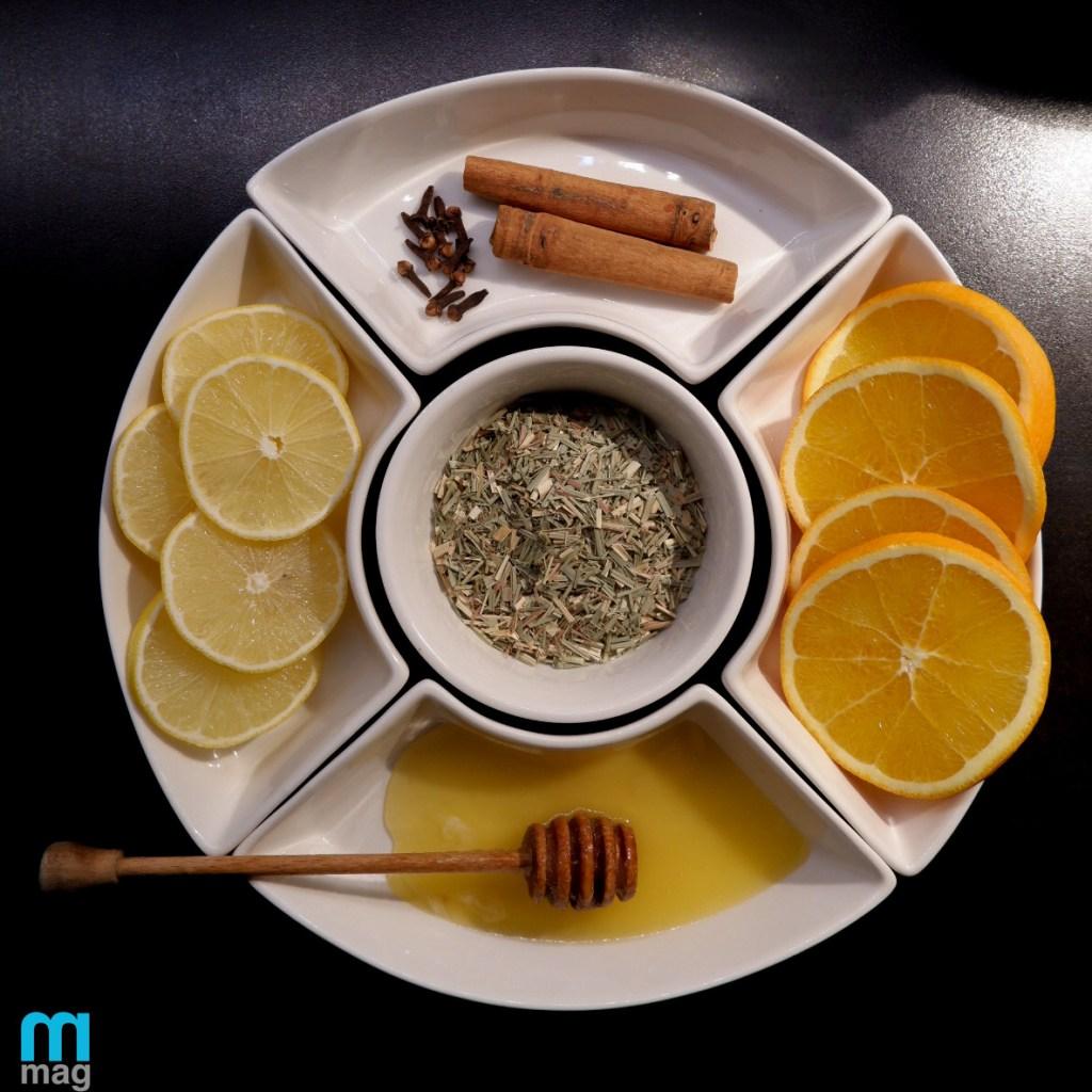 składniki na zimową herbatę