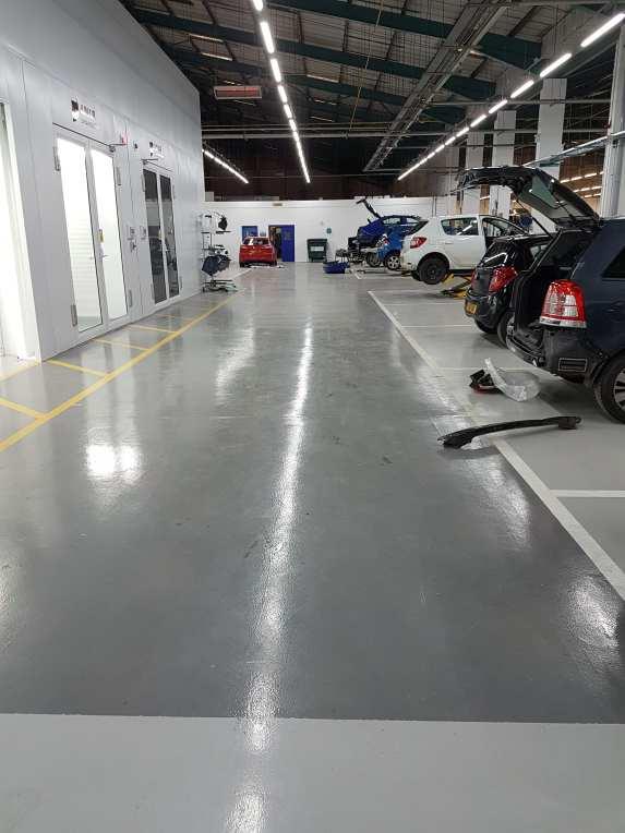 Automotive resin flooring - Monarch resin flooring