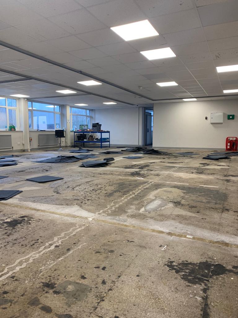 resin flooring Lancashire covid vaccination centre