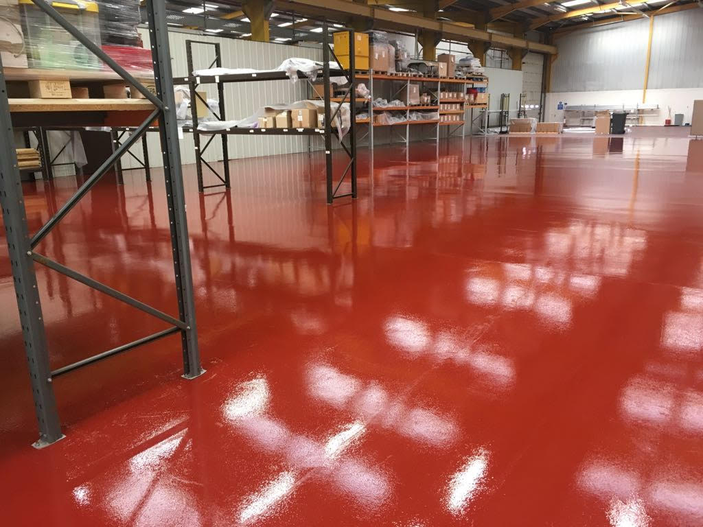 factory warehouse resin floor Derbyshire red