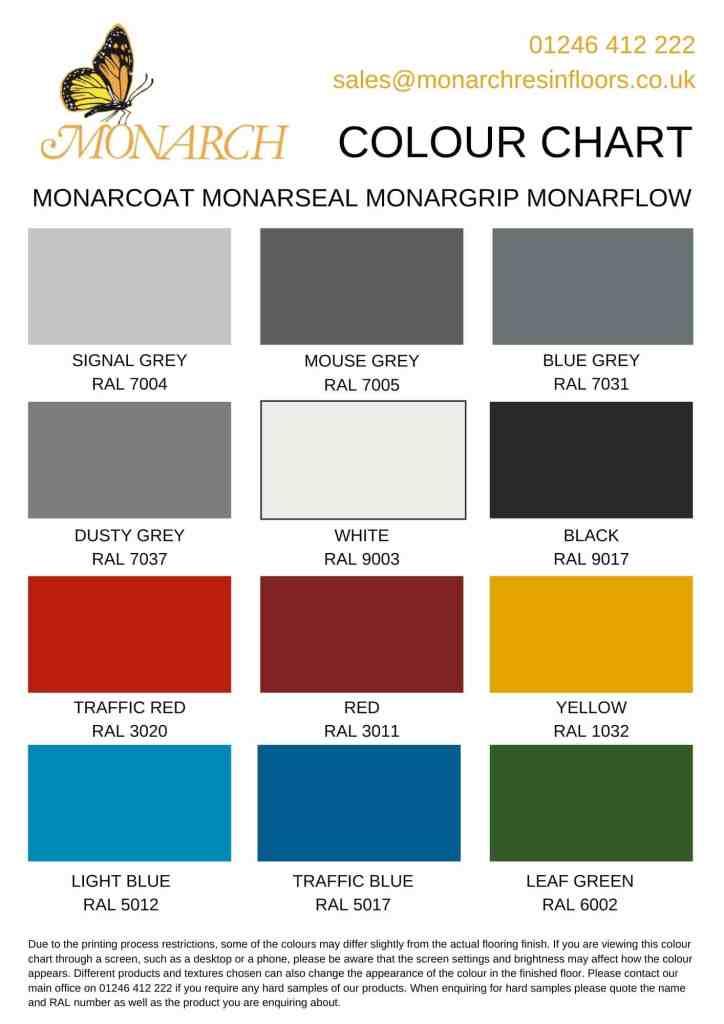 resin flooring colour chart monarch