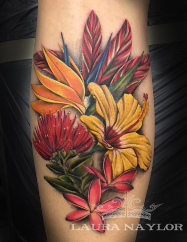 color tropical flowers tattoo