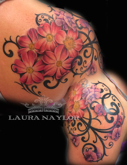 floral tattoo with filigree