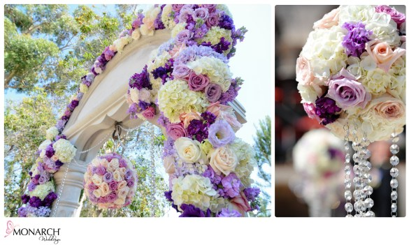 Purple_Rose_White_Hydrangea_Stunning_Floral_Arch_Wishing_Well_Pomander_Crystals