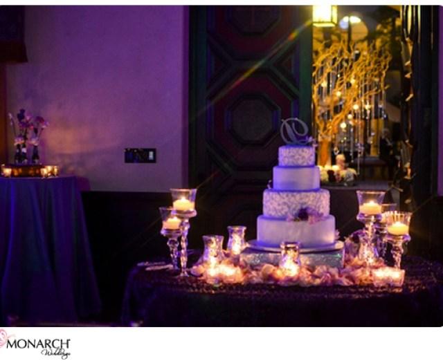 Purple-Prado-Wedding-Cake-with-Monogram-cake-topper