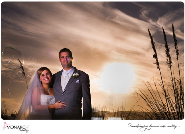 bride-and-groom-infront-of-sunset-bubbles-by-Bubble-guy-of-coronado