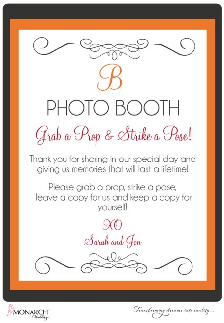 Orange-gray-photo-booth-sign-monarch-weddings
